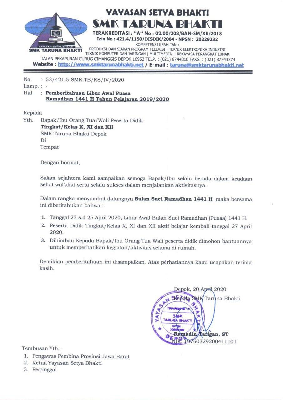 Surat Edaran Pemberitahuan Libur Awal Puasa Tp 2019 2020 Smk Taruna Bhakti